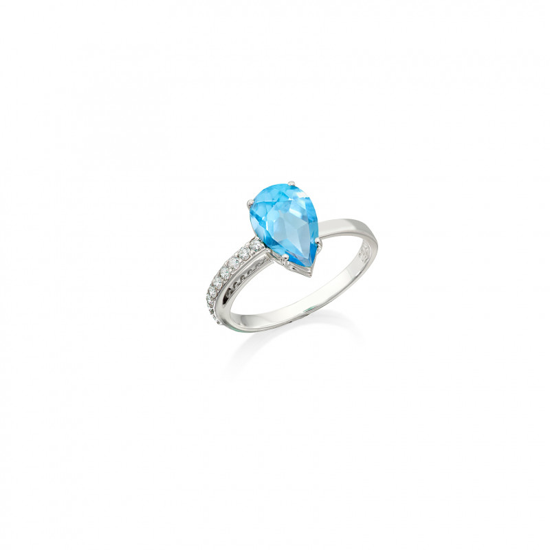 Anel Prisma Assimétrico Topázio Azul