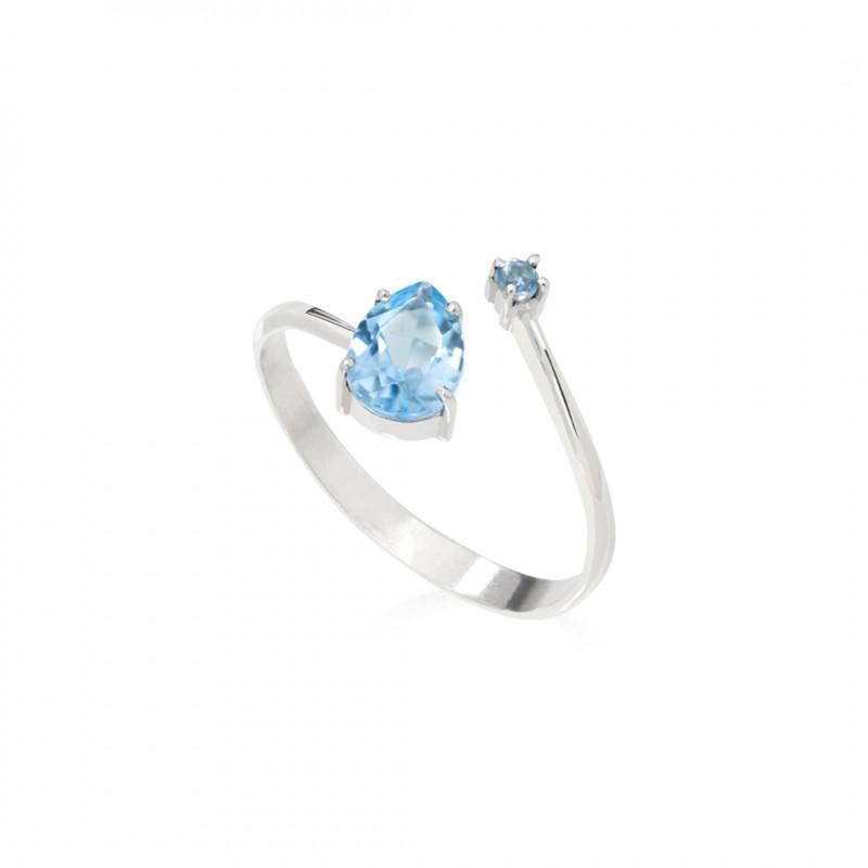 Anel Split Topázio azul